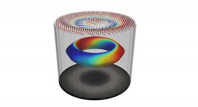 Artist's drawing of characteristic 3D spin texture of a magnetic hopfion image