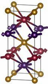 Crystal structure of Mn2Au with antiferromagnetically ordered magnetic moments.