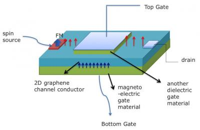 Top-gated graphene-based magnetoelectric spinFET design